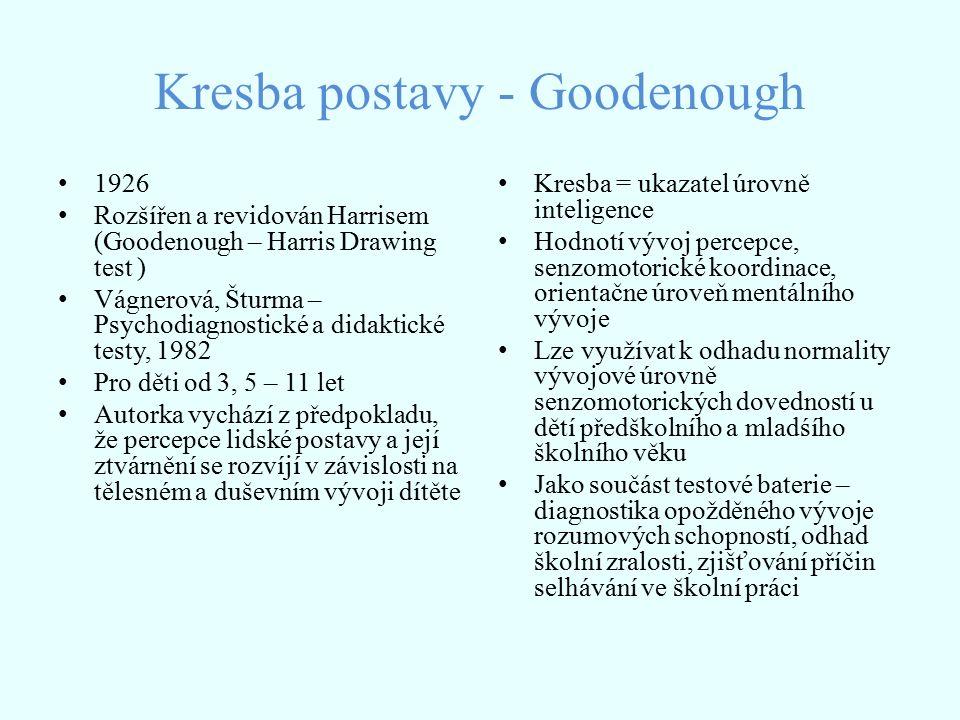 Kresba postavy - Goodenough 1926 Rozšířen a revidován Harrisem (Goodenough – Harris Drawing test ) Vágnerová, Šturma – Psychodiagnostické a didaktické testy, 1982 Pro děti od 3, 5 – 11 let Autorka vychází z předpokladu, že percepce lidské postavy a její ztvárnění se rozvíjí v závislosti na tělesném a duševním vývoji dítěte Kresba = ukazatel úrovně inteligence Hodnotí vývoj percepce, senzomotorické koordinace, orientačne úroveň mentálního vývoje Lze využívat k odhadu normality vývojové úrovně senzomotorických dovedností u dětí předškolního a mladśího školního věku Jako součást testové baterie – diagnostika opožděného vývoje rozumových schopností, odhad školní zralosti, zjišťování příčin selhávání ve školní práci