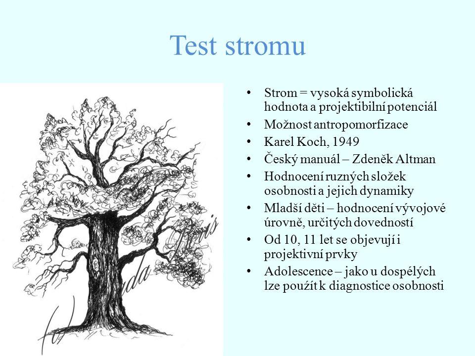 Der Sterne – Wellen Test Avé – Lallemantová, 1979 Test autorka řadí do kategorie grafického vyjádření a projekce Vychází z grafologie Může poskytnou orientační informaci o celkové vývinové úrovni dítěte, jakmile dosáhnou senzomotorické dovednosti určitého stupně zralosti – lze metodu použít k diagnostice osobnosti jako projektivní test Předpoklad k zvládnutí úkolu – schopnost chápat význam pojmu hvězdy a vlny – a ztvárnit tuto představu na konkrétním prostoru Dítě kreslí podle fantazie a představ ( promítnutí dosažené úrovně kognitivních schopnosti, tvořivost a osobnostní rysy ) Důležité hodnotící kritérium = charakteristika čar a jejich narušení Testový materiál : formulář s černě vyznačeným rámečkem ( pro kresbu ) a tužka