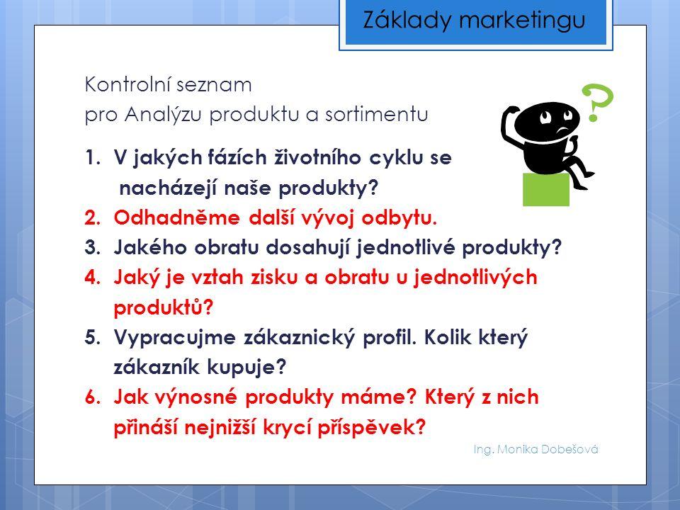 Ing. Monika Dobešová Kontrolní seznam pro Analýzu produktu a sortimentu 1.