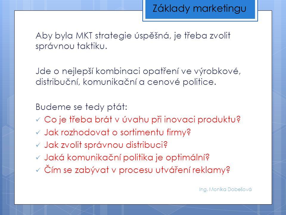Ing. Monika Dobešová Aby byla MKT strategie úspěšná, je třeba zvolit správnou taktiku.