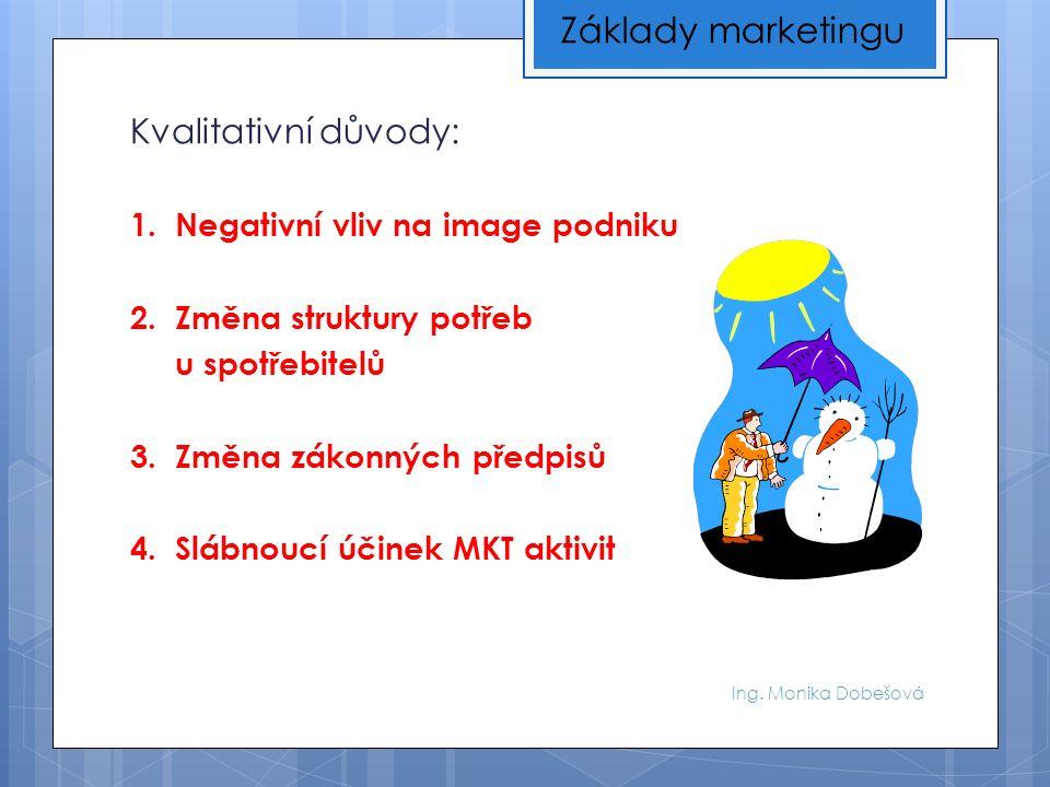 Ing. Monika Dobešová Kvalitativní důvody: 1. Negativní vliv na image podniku 2.