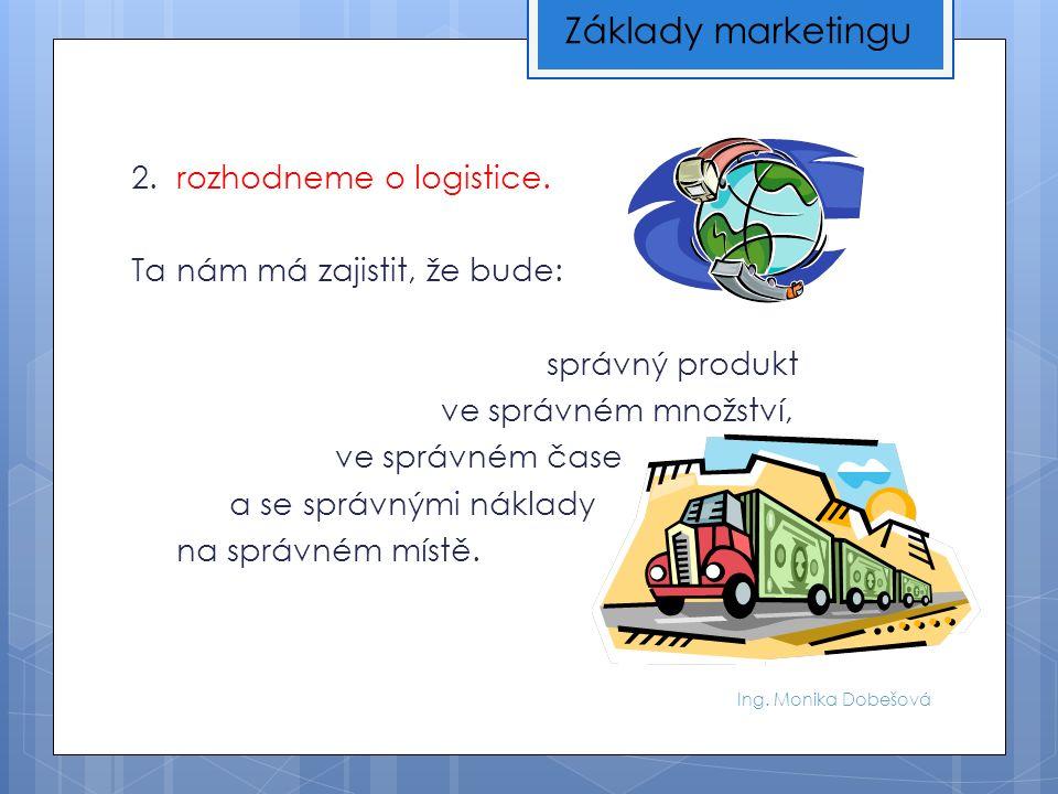 Ing. Monika Dobešová 2. rozhodneme o logistice.