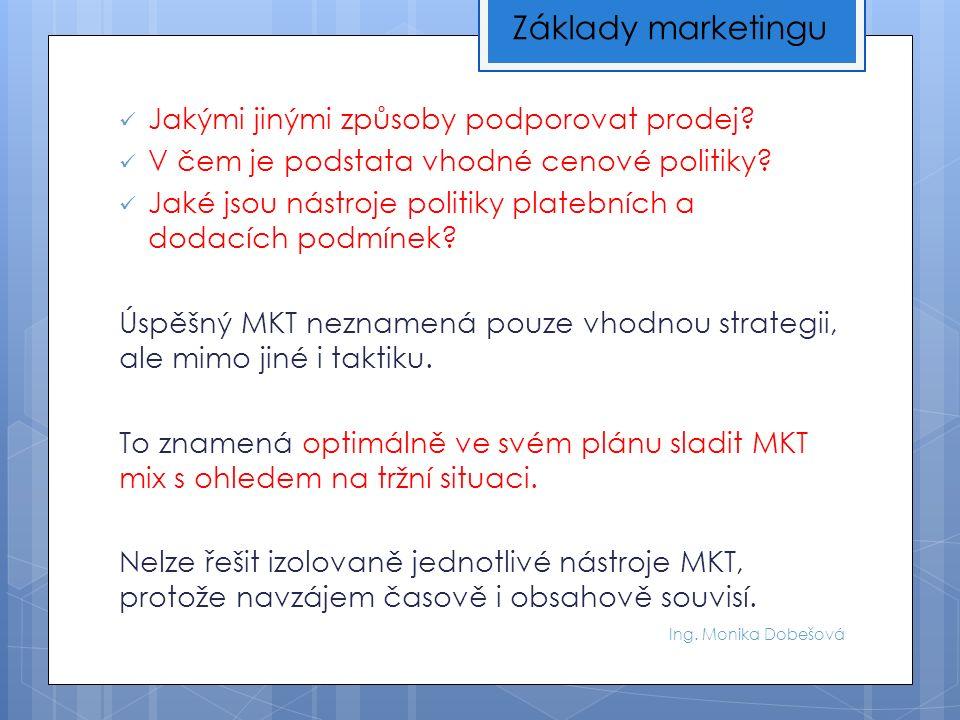 Ing.Monika Dobešová Usilujme o správnou výrobkovou politiku Co je jejím obsahem.