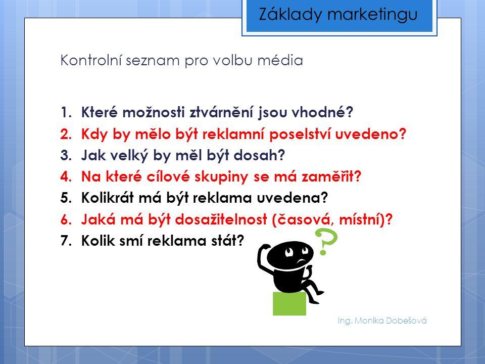 Ing. Monika Dobešová Kontrolní seznam pro volbu média 1.