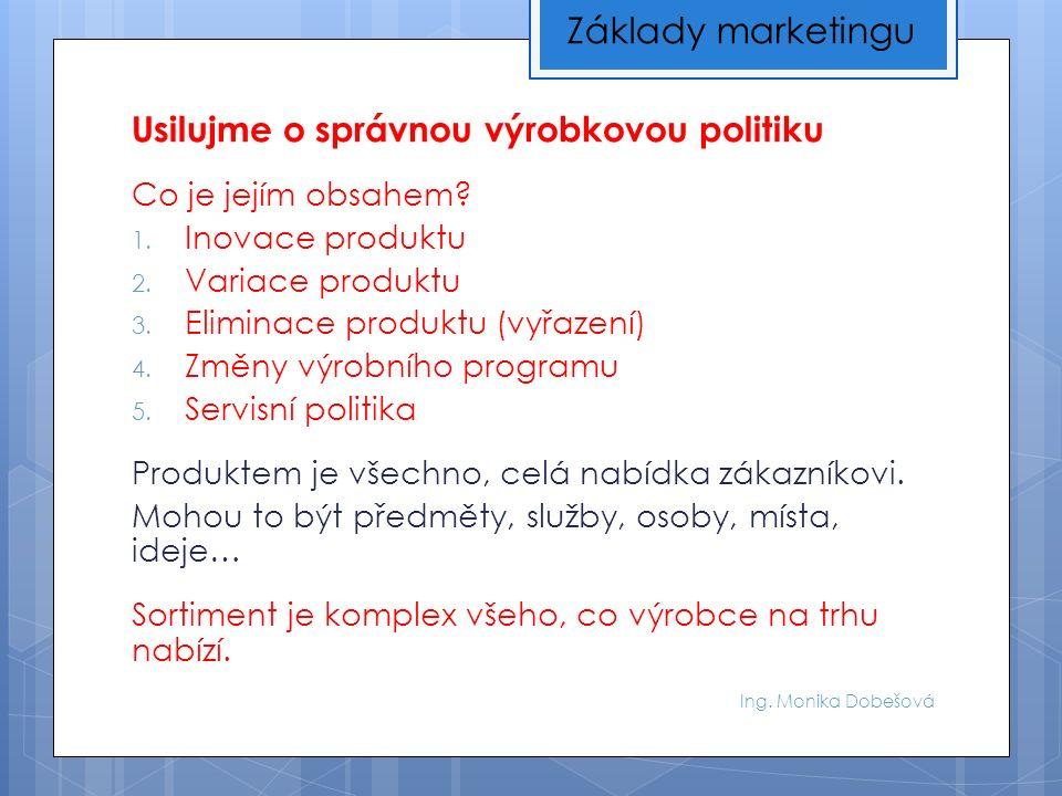 Ing. Monika Dobešová Usilujme o správnou výrobkovou politiku Co je jejím obsahem.