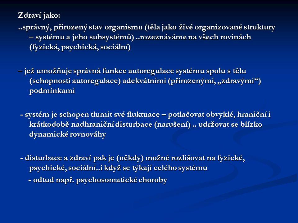 Zdraví jako:..správný, přirozený stav organismu (těla jako živé organizované struktury – systému a jeho subsystémů)..rozeznáváme na všech rovinách (fy