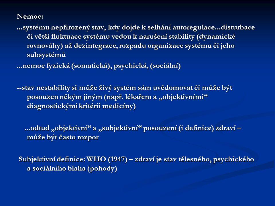 Nemoc:...systému nepřirozený stav, kdy dojde k selhání autoregulace...disturbace či větší fluktuace systému vedou k narušení stability (dynamické rovn