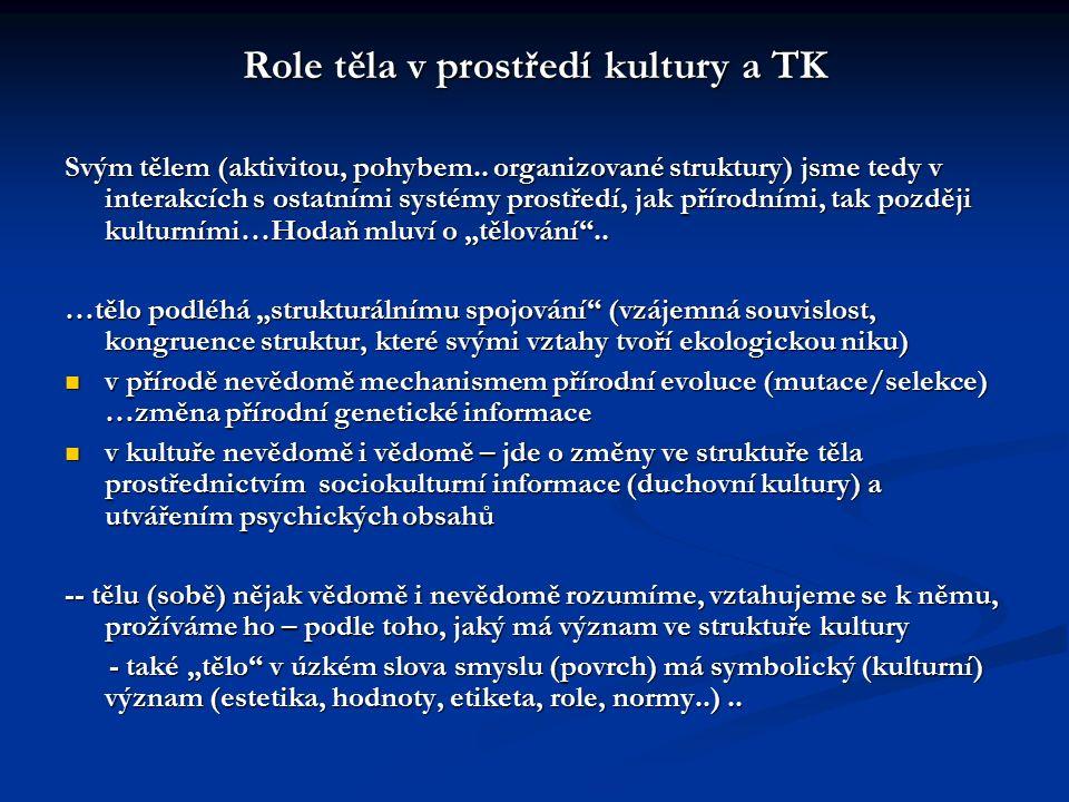 Role těla v prostředí kultury a TK Svým tělem (aktivitou, pohybem.. organizované struktury) jsme tedy v interakcích s ostatními systémy prostředí, jak