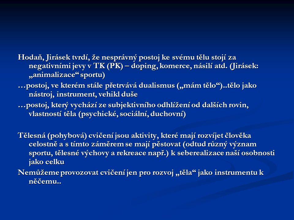 """Hodaň, Jirásek tvrdí, že nesprávný postoj ke svému tělu stojí za negativními jevy v TK (PK) – doping, komerce, násilí atd. (Jirásek: """"animalizace"""" spo"""