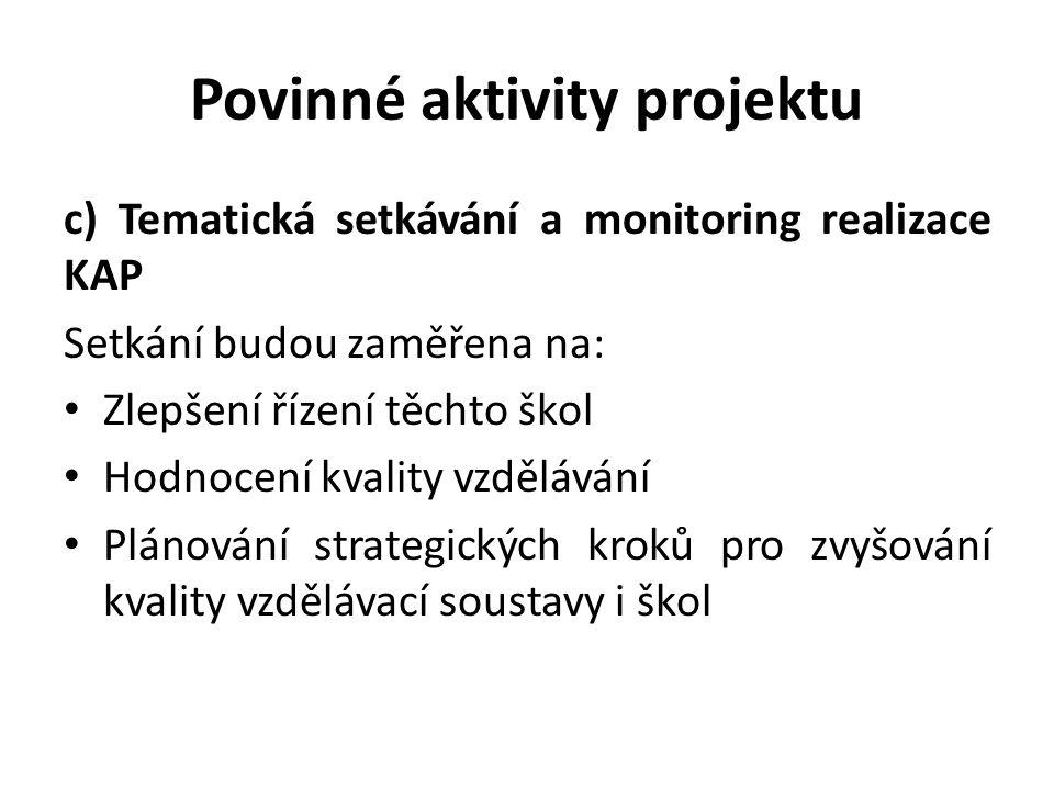 Povinné aktivity projektu c) Tematická setkávání a monitoring realizace KAP Setkání budou zaměřena na: Zlepšení řízení těchto škol Hodnocení kvality v