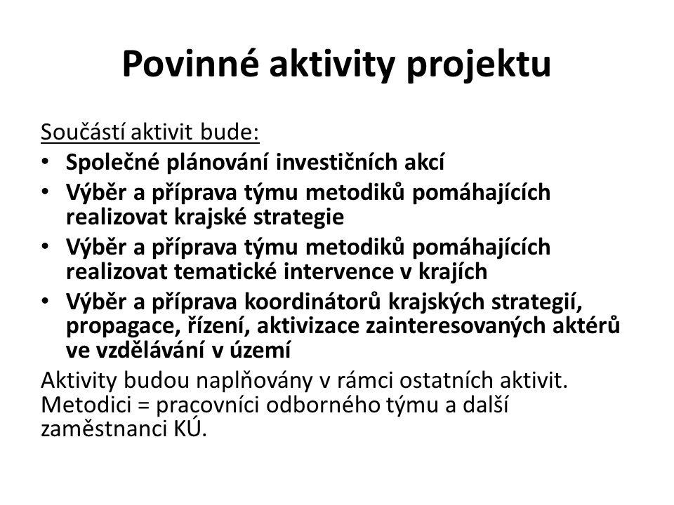 Povinné aktivity projektu Součástí aktivit bude: Společné plánování investičních akcí Výběr a příprava týmu metodiků pomáhajících realizovat krajské s