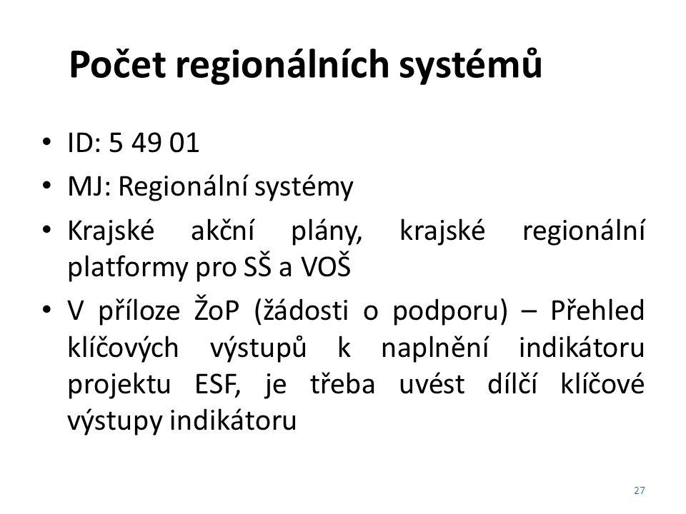 Počet regionálních systémů ID: 5 49 01 MJ: Regionální systémy Krajské akční plány, krajské regionální platformy pro SŠ a VOŠ V příloze ŽoP (žádosti o
