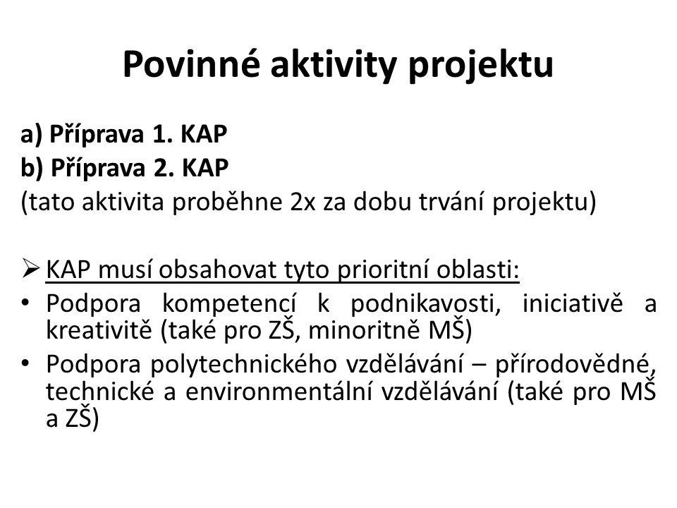 Povinné aktivity projektu a) Příprava 1. KAP b) Příprava 2. KAP (tato aktivita proběhne 2x za dobu trvání projektu)  KAP musí obsahovat tyto prioritn