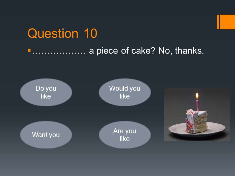 Question 10  ……………… a piece of cake? No, thanks. Do you like Want you Would you like Are you like
