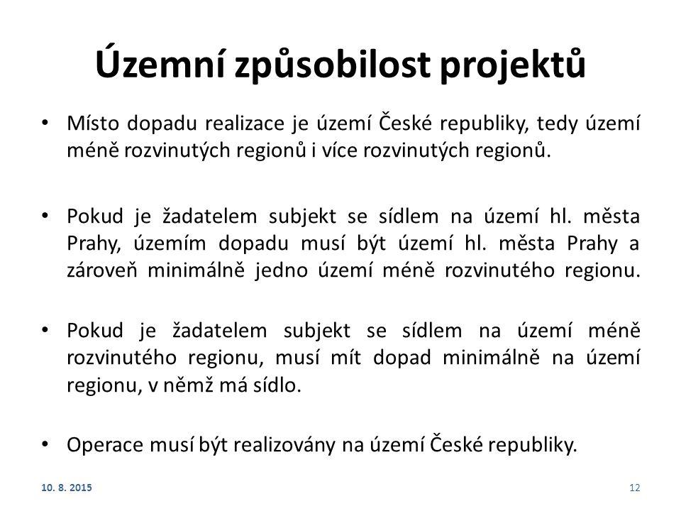 Územní způsobilost projektů Místo dopadu realizace je území České republiky, tedy území méně rozvinutých regionů i více rozvinutých regionů. Pokud je