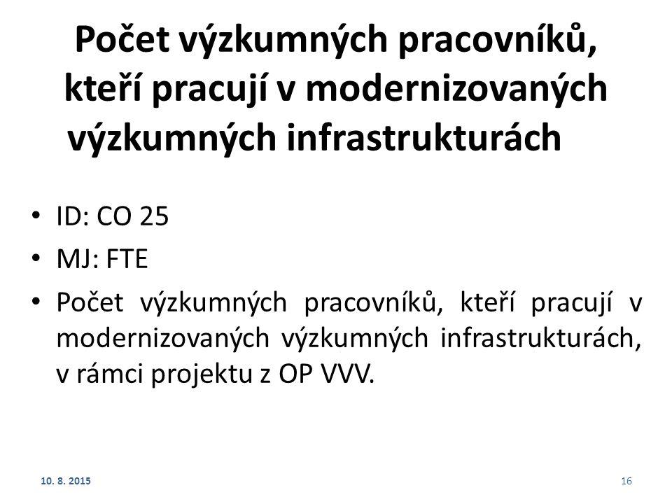 Počet výzkumných pracovníků, kteří pracují v modernizovaných výzkumných infrastrukturách ID: CO 25 MJ: FTE Počet výzkumných pracovníků, kteří pracují