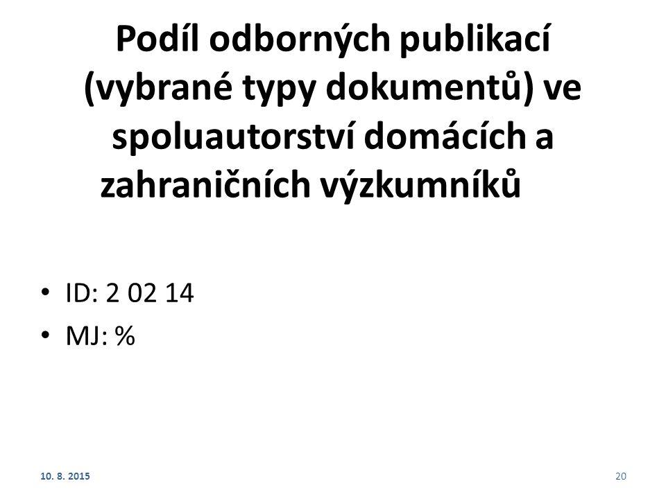 Podíl odborných publikací (vybrané typy dokumentů) ve spoluautorství domácích a zahraničních výzkumníků ID: 2 02 14 MJ: % 10. 8. 201520