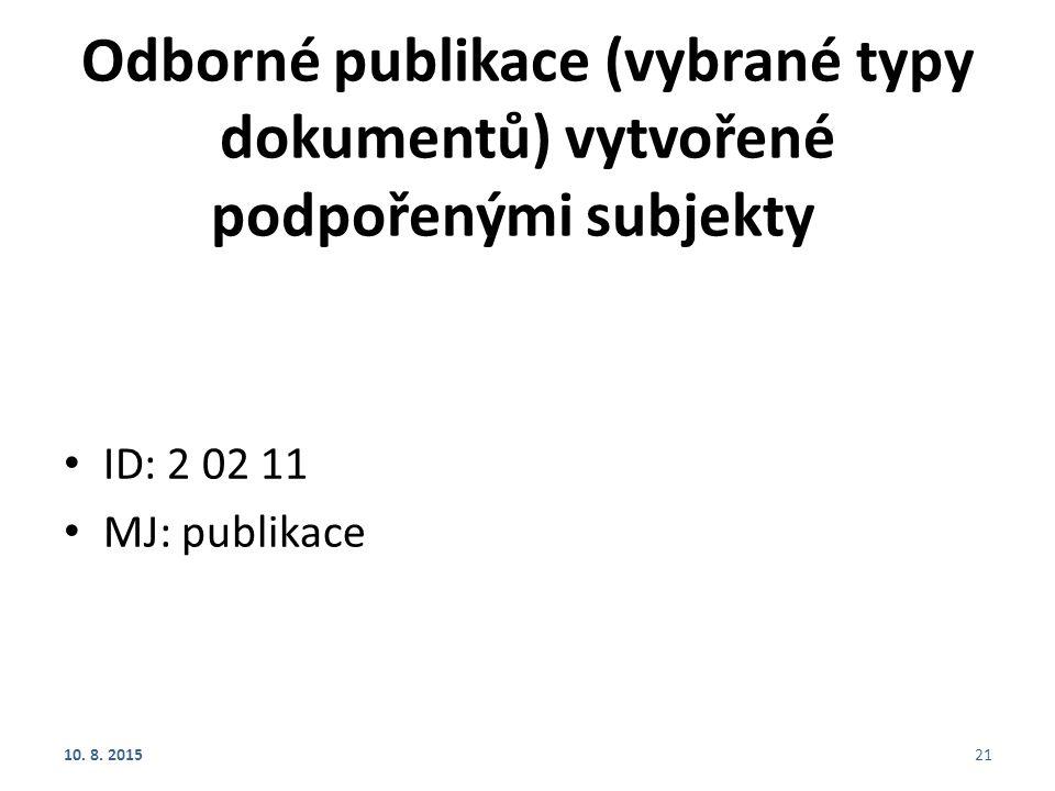 Odborné publikace (vybrané typy dokumentů) vytvořené podpořenými subjekty ID: 2 02 11 MJ: publikace 10. 8. 201521