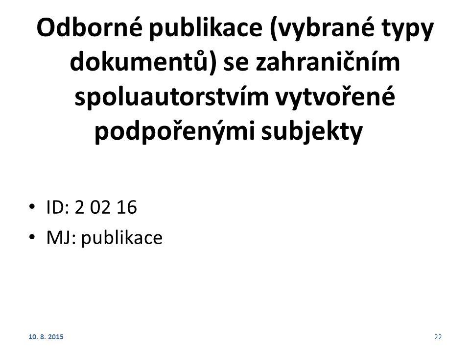Odborné publikace (vybrané typy dokumentů) se zahraničním spoluautorstvím vytvořené podpořenými subjekty ID: 2 02 16 MJ: publikace 10. 8. 201522