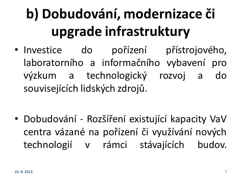 b) Dobudování, modernizace či upgrade infrastruktury Investice do pořízení přístrojového, laboratorního a informačního vybavení pro výzkum a technolog