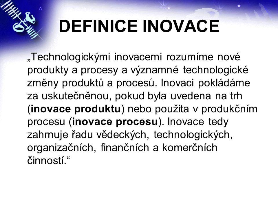 """DEFINICE INOVACE """"Technologickými inovacemi rozumíme nové produkty a procesy a významné technologické změny produktů a procesů. Inovaci pokládáme za u"""