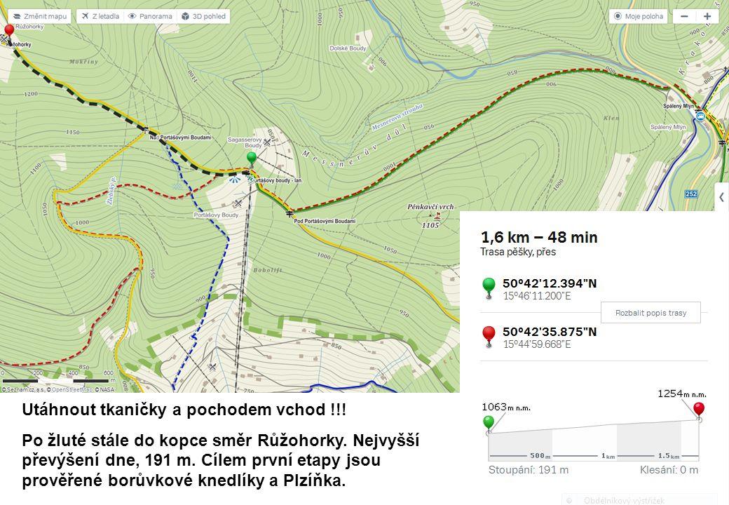 Utáhnout tkaničky a pochodem vchod !!. Po žluté stále do kopce směr Růžohorky.