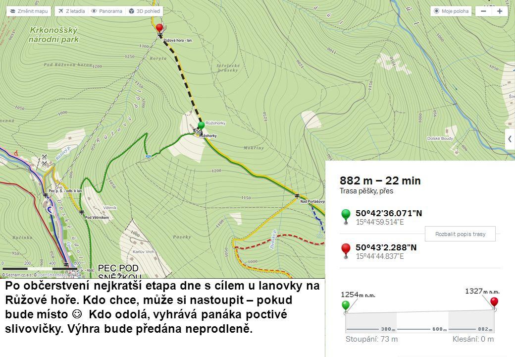 Po občerstvení nejkratší etapa dne s cílem u lanovky na Růžové hoře.