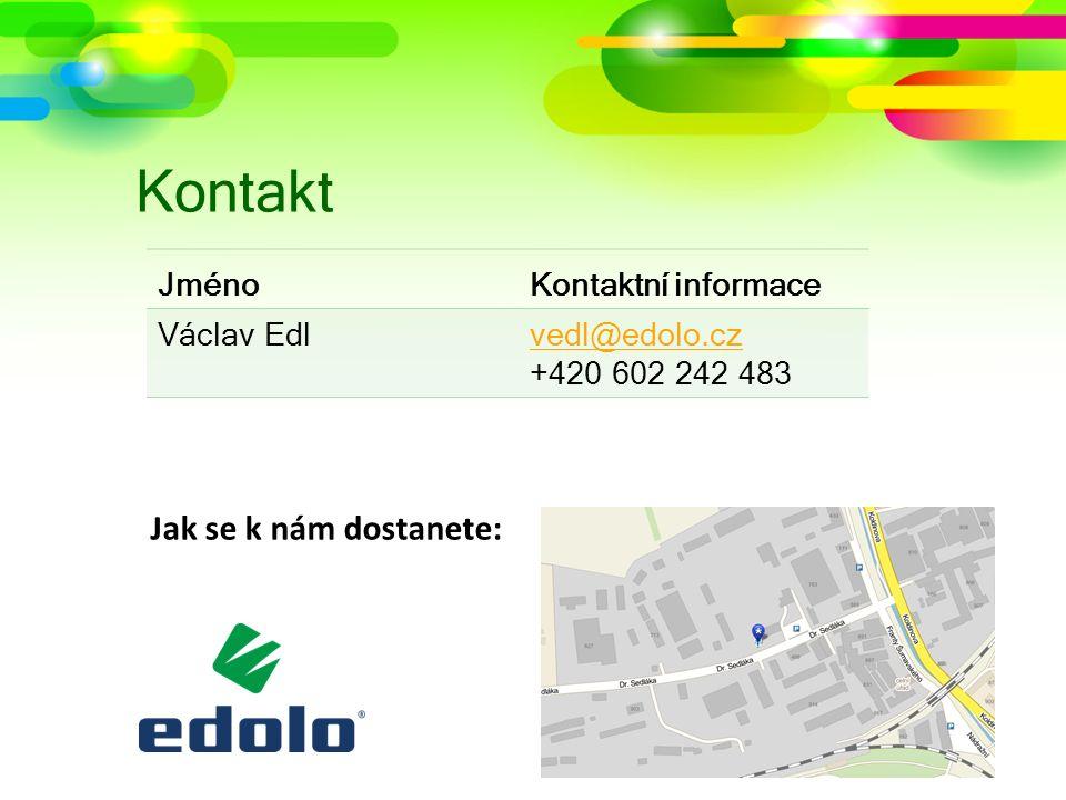 Kontakt Jak se k nám dostanete: JménoKontaktní informace Václav Edlvedl@edolo.cz +420 602 242 483