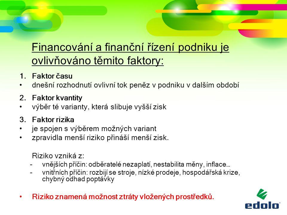 Financování a finanční řízení podniku je ovlivňováno těmito faktory: 1.Faktor času dnešní rozhodnutí ovlivní tok peněz v podniku v dalším období 2.Fak