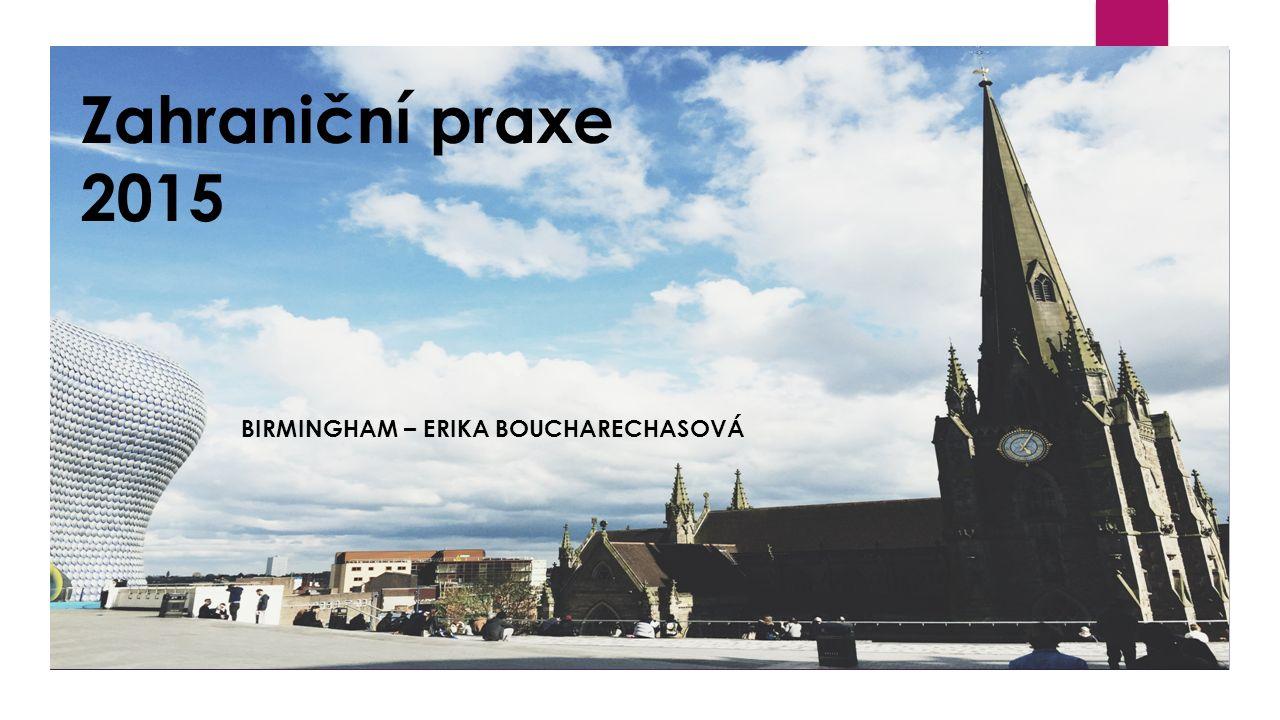 Zahraniční praxe 2015 BIRMINGHAM – ERIKA BOUCHARECHASOVÁ