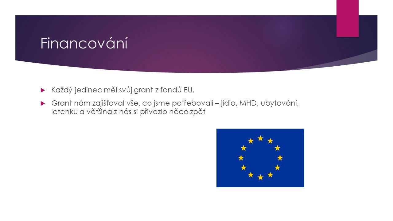 Financování  Každý jedinec měl svůj grant z fondů EU.  Grant nám zajišťoval vše, co jsme potřebovali – jídlo, MHD, ubytování, letenku a většina z ná
