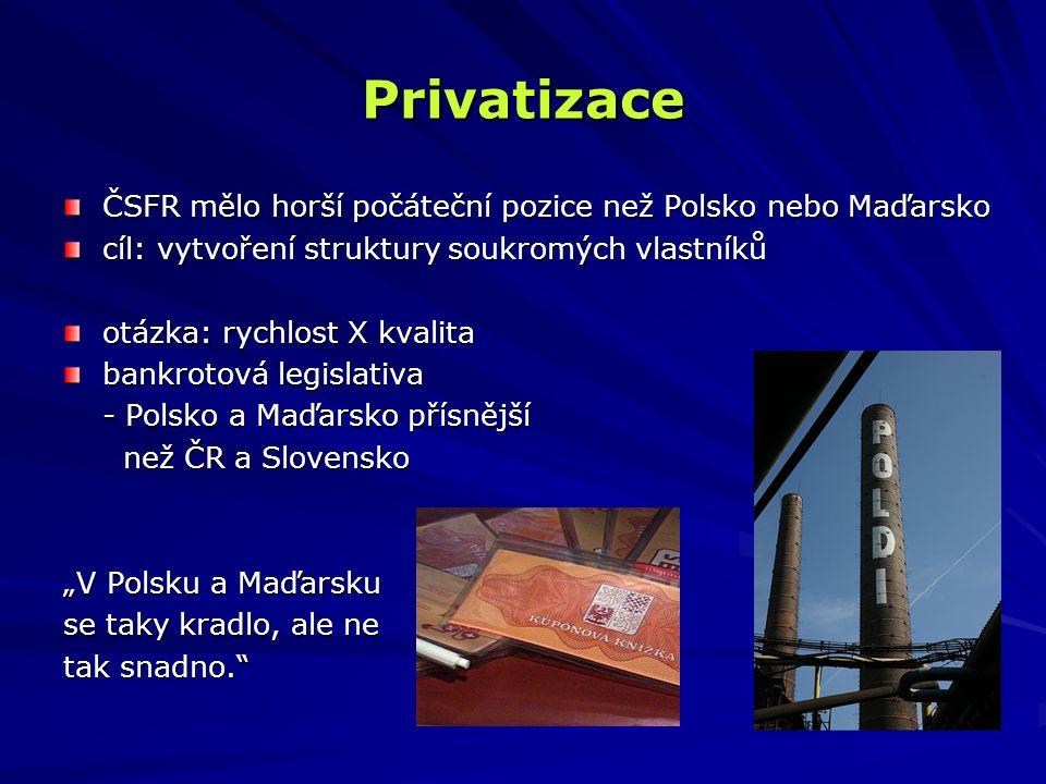 Privatizace ČSFR mělo horší počáteční pozice než Polsko nebo Maďarsko cíl: vytvoření struktury soukromých vlastníků otázka: rychlost X kvalita bankrot