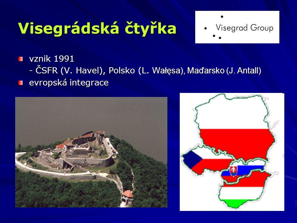 Visegrádská čtyřka vznik 1991 - ČSFR (V. Havel), Polsko (L. Wałęsa), Maďarsko (J. Antall) evropská integrace