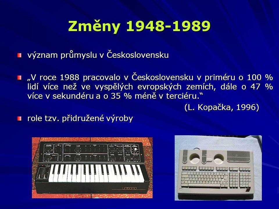 """význam průmyslu v Československu """"V roce 1988 pracovalo v Československu v priméru o 100 % lidí více než ve vyspělých evropských zemích, dále o 47 % v"""