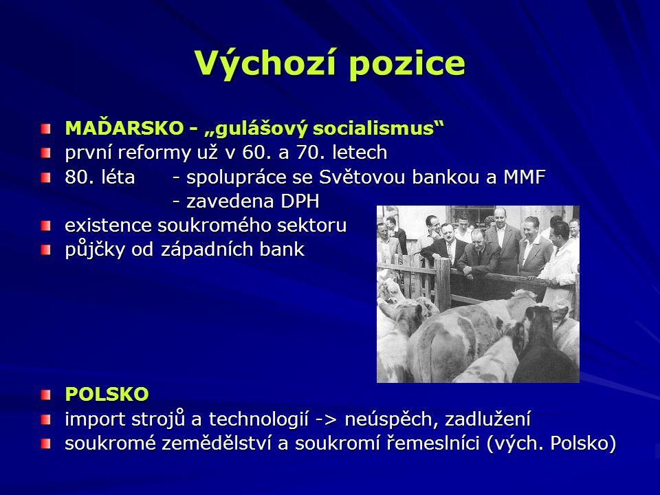 Výchozí pozice ČESKOSLOVENSKO extrémní stupeň státní kontroly neexistence soukromého sektoru absence malých a středních podniků velká závislost na RVHP zátěž - pomoc Slovensku Přesto vstupní pozice ČSR nebyla špatná.
