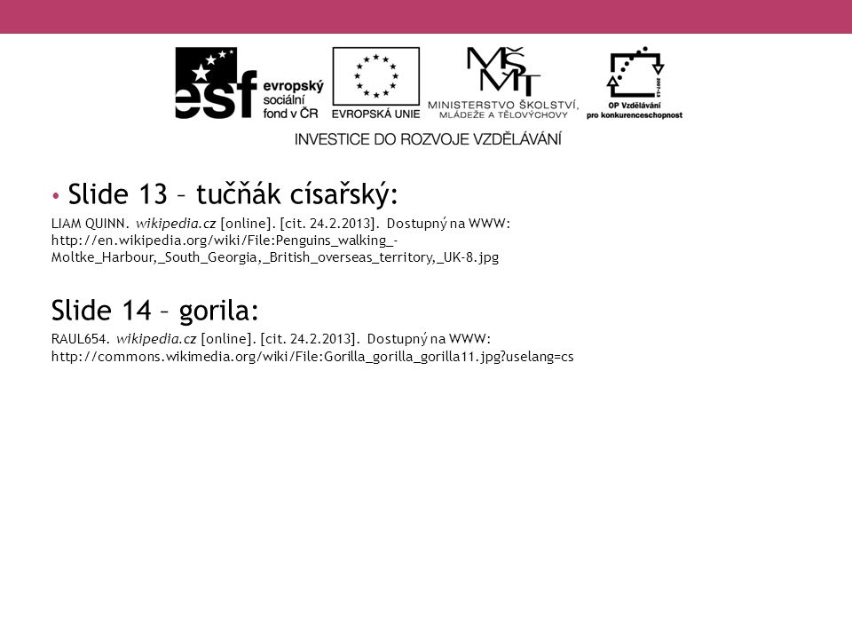 Slide 13 – tučňák císařský: LIAM QUINN. wikipedia.cz [online]. [cit. 24.2.2013]. Dostupný na WWW: http://en.wikipedia.org/wiki/File:Penguins_walking_-