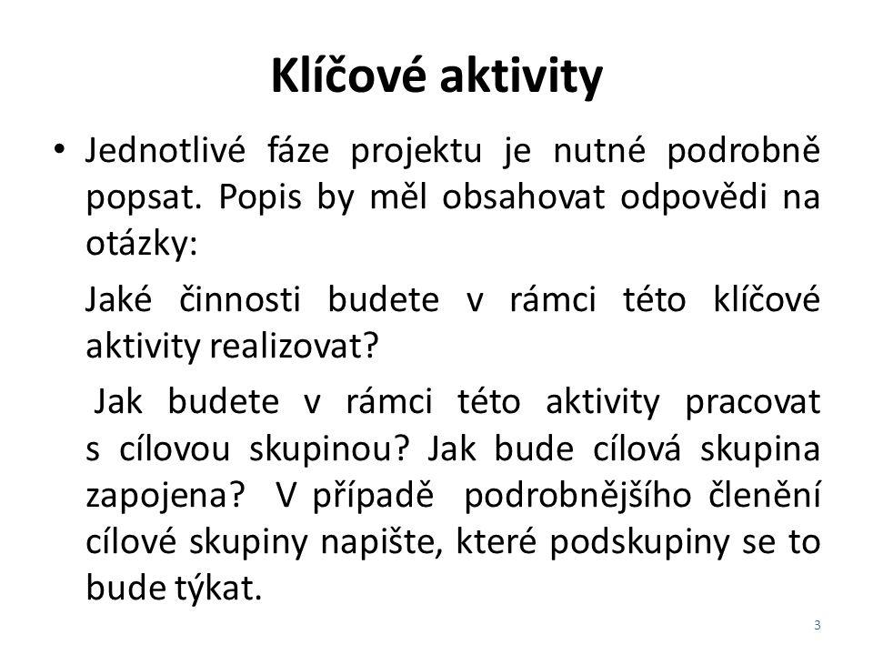 Klíčové aktivity Jak je tato aktivita plánována z časového hlediska.