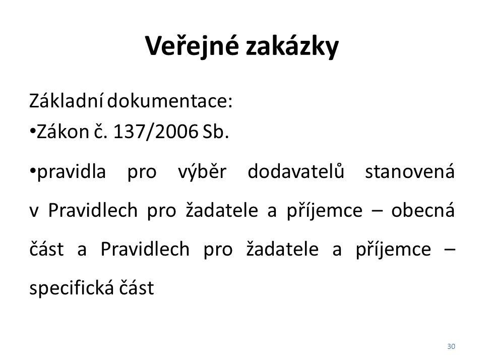 Veřejné zakázky Základní dokumentace: Zákon č. 137/2006 Sb. pravidla pro výběr dodavatelů stanovená v Pravidlech pro žadatele a příjemce – obecná část