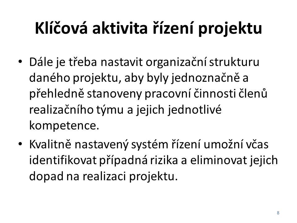 Klíčová aktivita řízení projektu Dále je třeba nastavit organizační strukturu daného projektu, aby byly jednoznačně a přehledně stanoveny pracovní čin