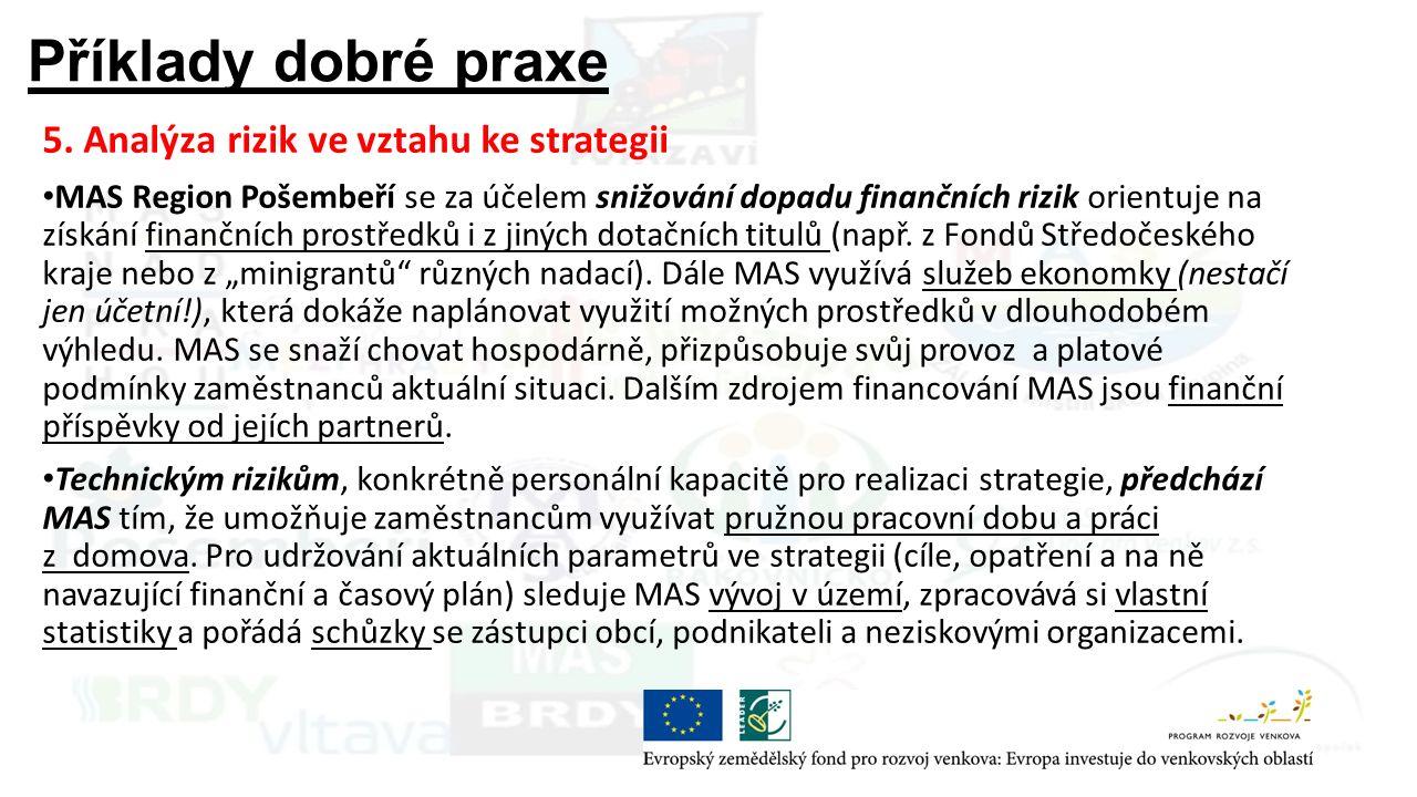 Příklady dobré praxe 5. Analýza rizik ve vztahu ke strategii MAS Region Pošembeří se za účelem snižování dopadu finančních rizik orientuje na získání