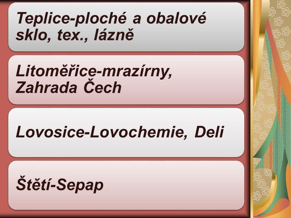 Teplice-ploché a obalové sklo, tex., lázně Litoměřice-mrazírny, Zahrada Čech Lovosice-Lovochemie, DeliŠtětí-Sepap