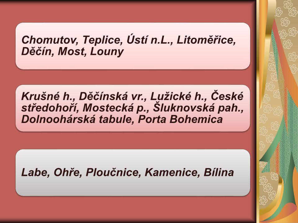 Chomutov, Teplice, Ústí n.L., Litoměřice, Děčín, Most, Louny Krušné h., Děčínská vr., Lužické h., České středohoří, Mostecká p., Šluknovská pah., Dolnoohárská tabule, Porta Bohemica Labe, Ohře, Ploučnice, Kamenice, Bílina