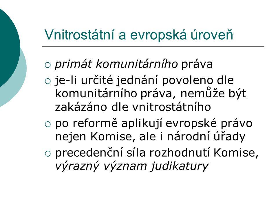 Vnitrostátní a evropská úroveň  primát komunitárního práva  je-li určité jednání povoleno dle komunitárního práva, nemůže být zakázáno dle vnitrostá