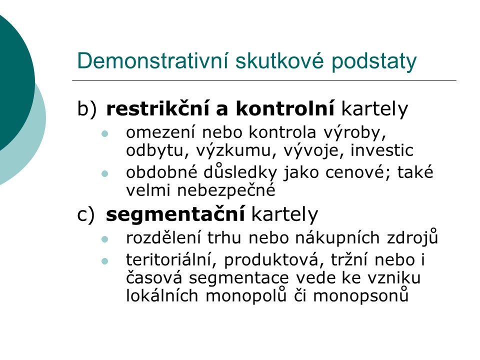 Demonstrativní skutkové podstaty b)restrikční a kontrolní kartely omezení nebo kontrola výroby, odbytu, výzkumu, vývoje, investic obdobné důsledky jak