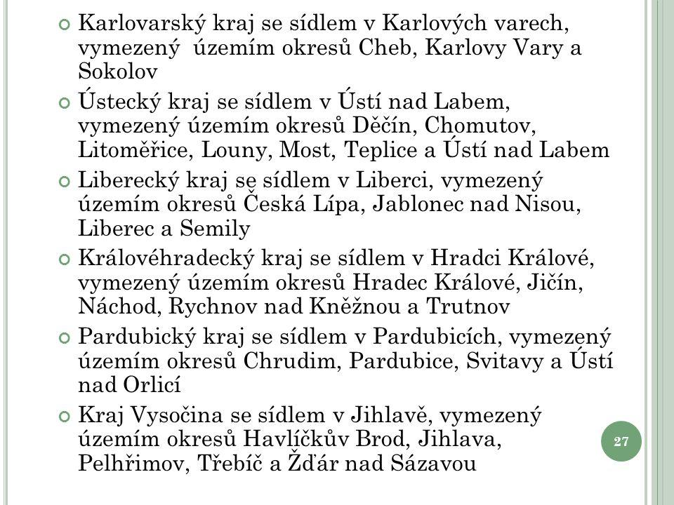 Karlovarský kraj se sídlem v Karlových varech, vymezený územím okresů Cheb, Karlovy Vary a Sokolov Ústecký kraj se sídlem v Ústí nad Labem, vymezený ú
