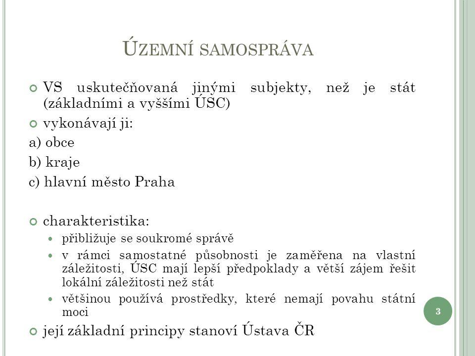 Ú ZEMNÍ SAMOSPRÁVA VS uskutečňovaná jinými subjekty, než je stát (základními a vyššími ÚSC) vykonávají ji: a) obce b) kraje c) hlavní město Praha char