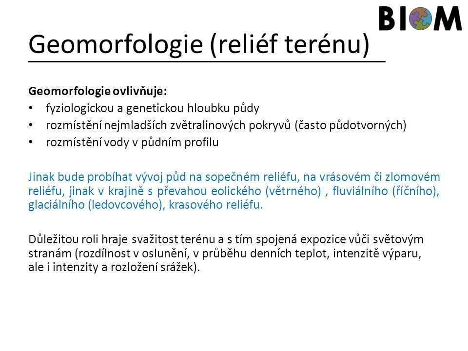 Geomorfologie (reliéf terénu) Geomorfologie ovlivňuje: fyziologickou a genetickou hloubku půdy rozmístění nejmladších zvětralinových pokryvů (často pů