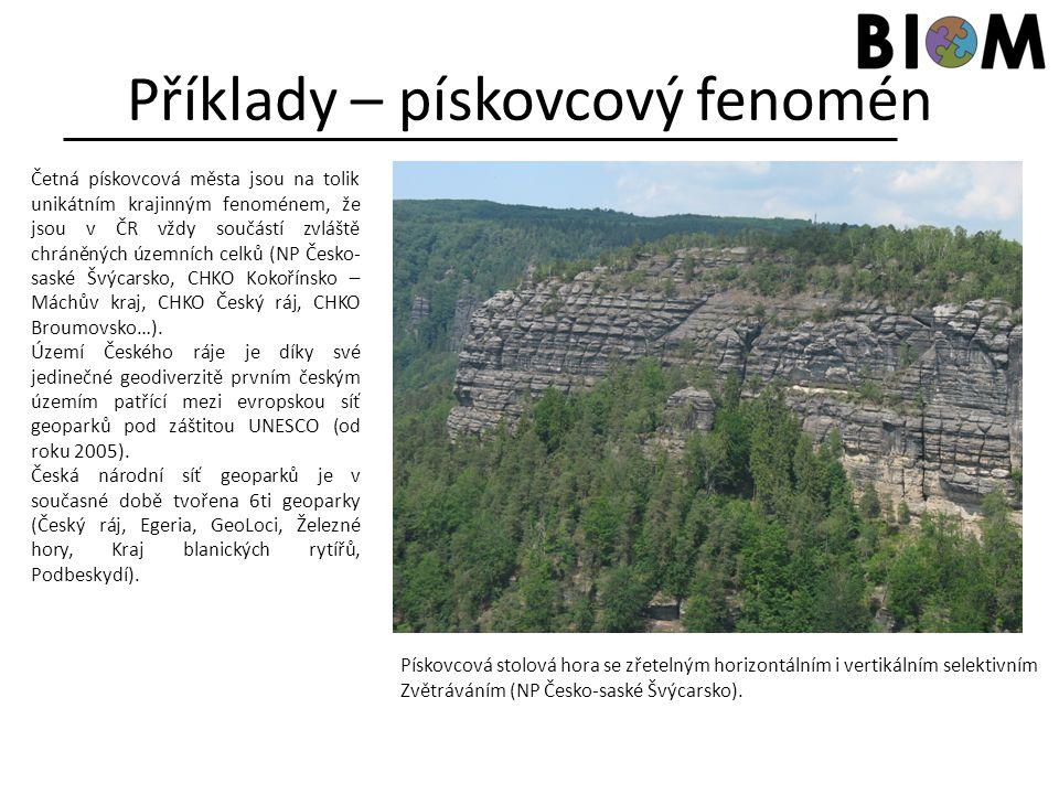 Příklady – pískovcový fenomén Četná pískovcová města jsou na tolik unikátním krajinným fenoménem, že jsou v ČR vždy součástí zvláště chráněných územní