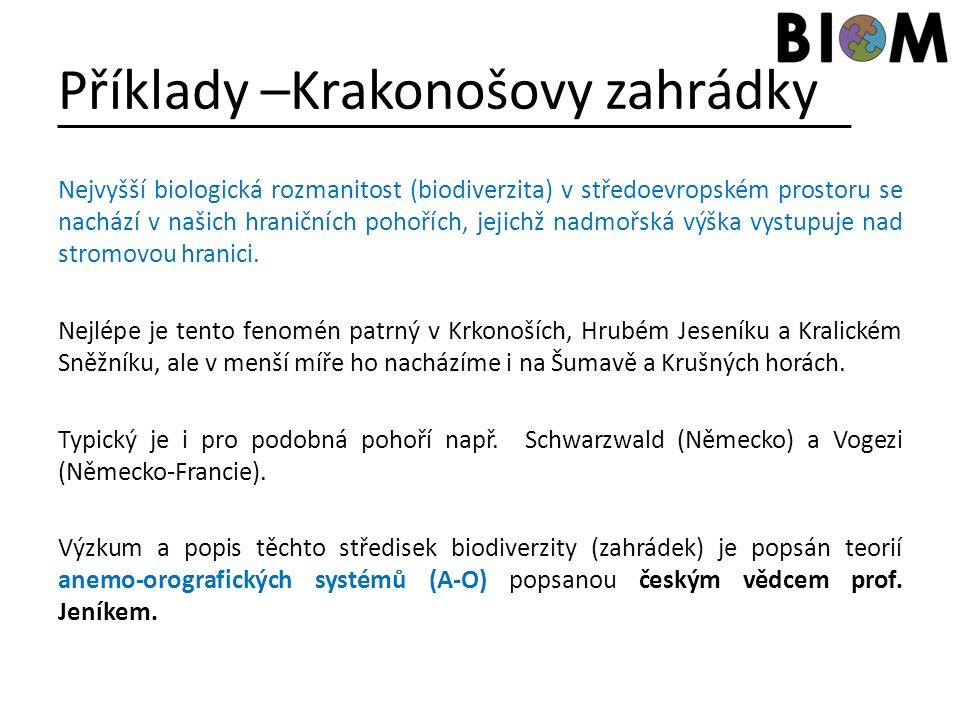 Příklady –Krakonošovy zahrádky Nejvyšší biologická rozmanitost (biodiverzita) v středoevropském prostoru se nachází v našich hraničních pohořích, jeji