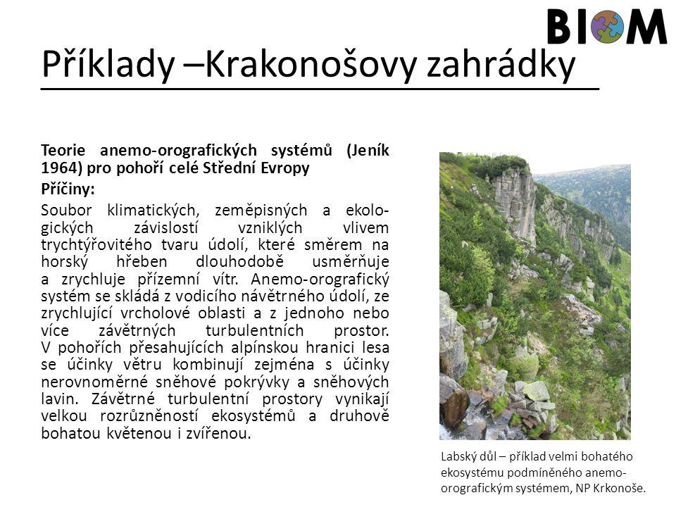 Příklady –Krakonošovy zahrádky Teorie anemo-orografických systémů (Jeník 1964) pro pohoří celé Střední Evropy Příčiny: Soubor klimatických, zeměpisnýc